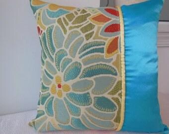 Blue Decorative Pillow - Flower Pillow - Yellow Pillow - Iced Blue / Mellow Yellow Large Flower Designer Pillow - Reversible 15 x 15 Inch