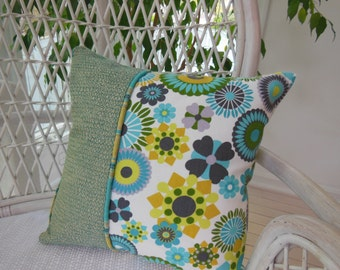 Moroccan Pillow - Kaleidoscope Design Pillow - Turquoise Pillow - Teal Pillow - Reversible 15 x 15 Inch - Teal, Turquoise, Gold and Mustard