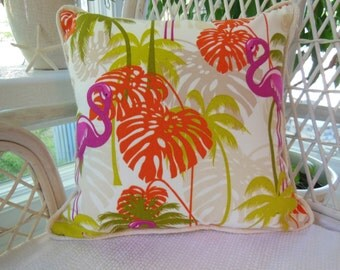 Tropical Flamingo Pillow - Beach Designer Pillow  - Burlap Trim Decorative Pillow - Reversible 15 x 15 Inch