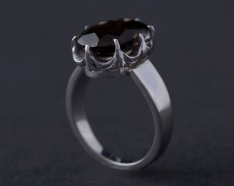 Gold Plated sterling silver Ring with  Smoky Quartz