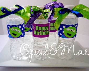 Instant Download- PRINTABLE DIY- Toy Story Alien Inspired Digital Party Birthday Drink Labels