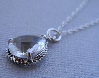 Clear Necklace Sterling Silver Teardrop-Bridesmaid Necklace-Bridal-Wedding