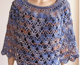 Crochet Poncho, Crochet Shawl, Crochet Shrug, Coverup, Pullover Sweater, Knit Poncho, Knit Sweater, Knit Shrug, Beach Cover Up, Capelet