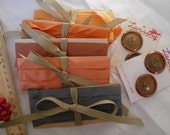 Craft Pack of Bias Tape, Buttons, Ribbon Craft Pack in Orange, Peach, Tangerine, Gray