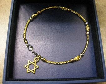 Jewish bracelet, Jewish jewelry, star of David bracelet,  Magen David bracelet, gold star of David jewelry, star of David pendant