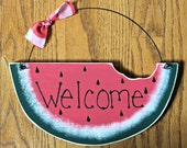 Large Wooden Welcome Watermelon Sign
