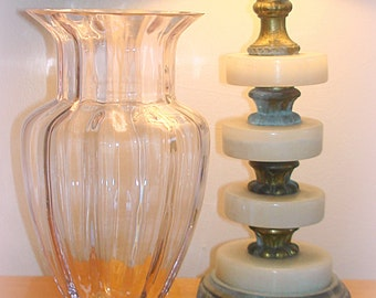 Pink Glass Vase Clear Pink Vintage Home Decor Urn Shaped Tall and Fluted