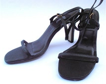 Vintage Black Stilettos Black Strap Shoes Black High Heels Faux Snakeskin Black Leather Shoes Black Ladies Shoes High Heels Ladies Size 7