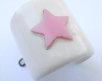 Vintage Pink Star White Ponytail Holder Hair Accessory Acrylic Japanese Kawaii Japan Barrette Villacollezione Villa Collezione