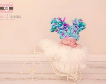 0-3 months Hand Crocheted jester double Pom Pom hat, Photography Prop, cute crochet baby hat