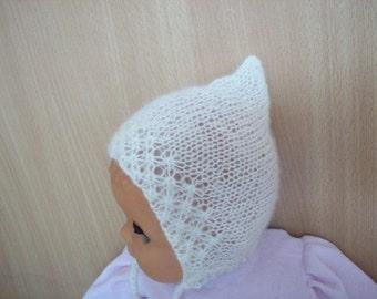 Newborn hat, cream mohair bonnet newborn/ baby hat, newborn photo prop, newborn girl,newborn hat, baby bonnet