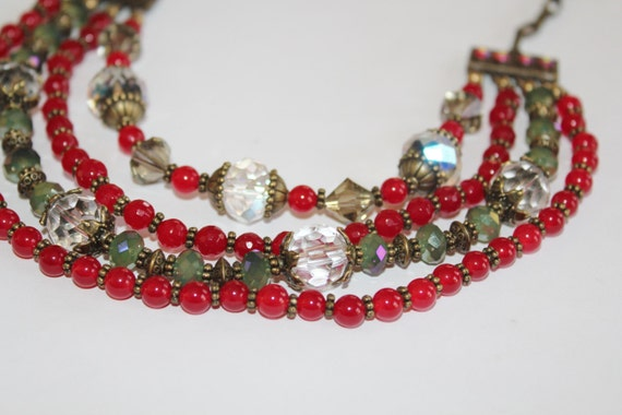 Layered necklace, layered beaded necklace, multi layered necklace, long layered necklace, chuncky layered necklace