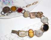 vintage cufflink bracelet gold letter S cameo and mother of pearl