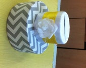 Gray Chevron and white satin with bright yellow accent money card holder