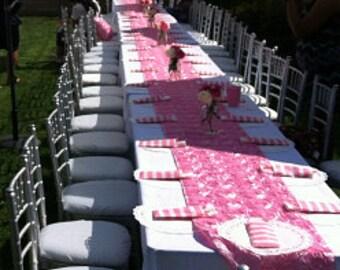 Custom Made Light Pink Fuschia Rosette Table Runner 120 X 16 Custom