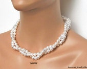 Bridal Pearl Necklace. Multi-strand White Pearl. Bridal Jewelry. Wedding Jewelry. Mother of the Bride. Wedding Necklace