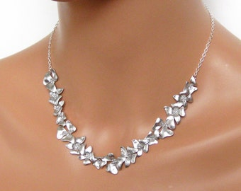 Matte Silver Flower and Sterling Silver - Bridal Necklace, Wedding Jewelry, Bridesmaids Gifts