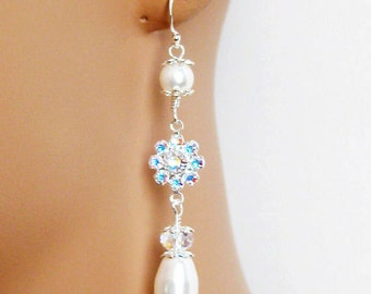 Rhinestone Bridal Earrings, Bridal Jewelry, Wedding Jewelry, Bridesmaids Jewelry, Drop Pearl Wedding Earrings