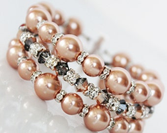 Swarovski Crystal Rose Gold Pearl, Cuff Wedding Bracelet, Pearl Bridal Bracelet, Mother of the Bride