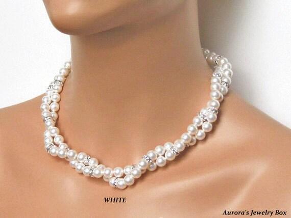 Bridal Pearl Necklace Multi Strand White