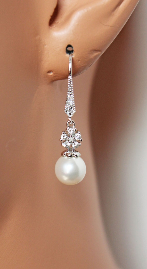 Pearl Drop Wedding Earrings Cubic Zirconia Bridal Earrings