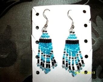Light blue Black Silver Earrings