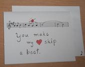 You Make My Heart Skip A Beat, music Valentine card