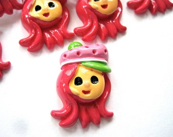 Strawberry Girl Resin Cabochons Embellishment Buttons Lot of 2