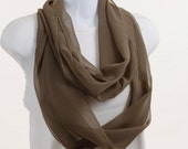Taupe Infinity Scarf - Lovely Wide Sheer ~ SH110-L5