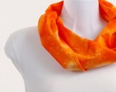 Infinity Scarf  - Bold Blaze Orange Cotton Hand Dyed Batik ~ SP003-S1