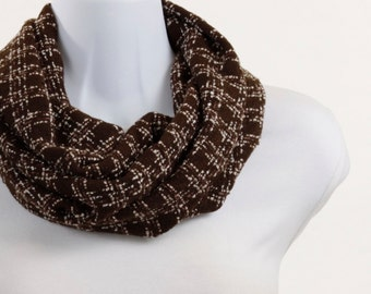 Woolly Brown Infinity Loop Scarf - Soft and Light ~ WL004-S5