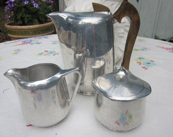 mid century modern tea, coffee set, pot and sugar creamer, aluminum, england fabulous