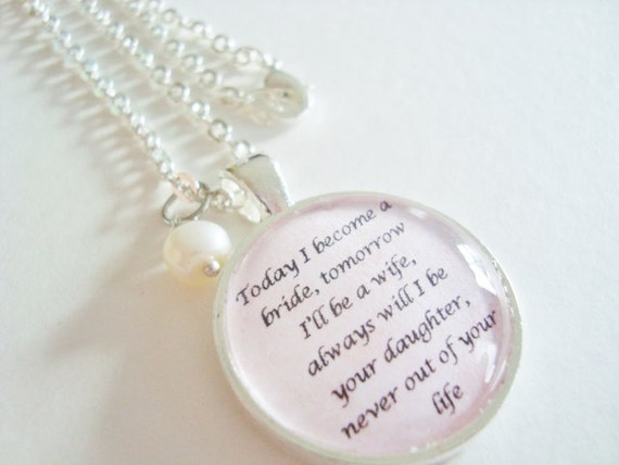 Mother Of The Bride Pendant Quote By SweetlySpokenJewelry On Etsy