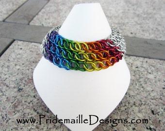 RAINBOW Half Persian Sheet Bracelet - Chainmaille Jewelry