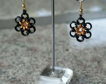 Japanese Flower Earrings - Black and Gold - Anodized Aluminum