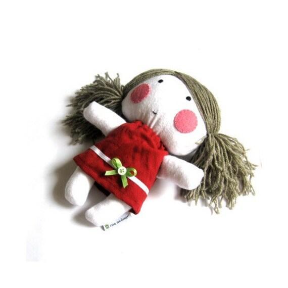 "Rag doll stuffed toy soft doll soft toy softie rag doll toy handmade plushie stuffed puppet girl child white red green cloth dress 11"" 27 cm"
