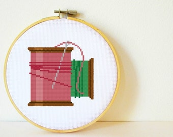 Counted Cross stitch Pattern PDF. Instant download. Cotton Spools. Includes easy beginners instructions.