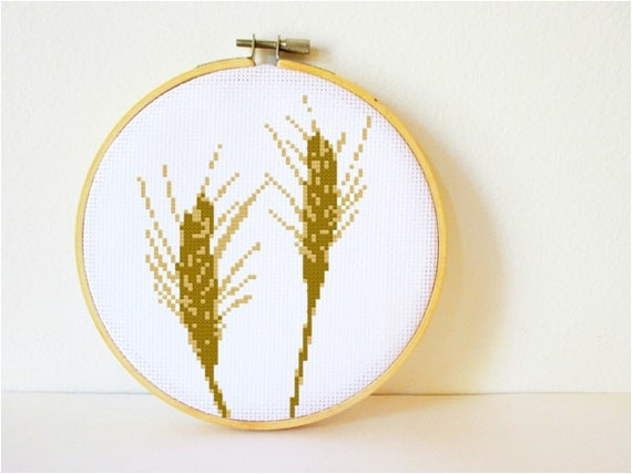 Counted Cross stitch Pattern PDF. Instant download. Wheat. Includes easy beginner instructions.