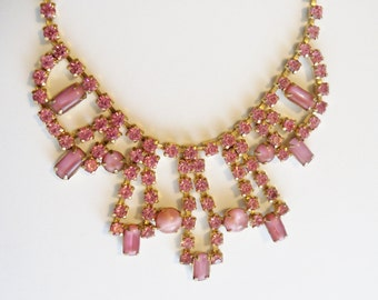 Vintage Necklace Pink Rhinestones and Givre Glass Stones Wedding Jewelry Bride Gift Idea Special Occasion