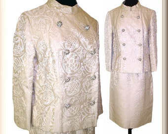 Vintage 1960s Suit  .  Two  Piece .  Brocade  . Double Breasted  . Couture Femme Fatale Rockabilly Garden Party Mad Men Mid Century  Dress