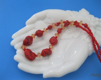 Howlite Red Nugget Bead Necklace Vintage Chunky Necklace