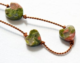 Heart-Shaped Beads Knotted on Brown Silk Cord Necklace