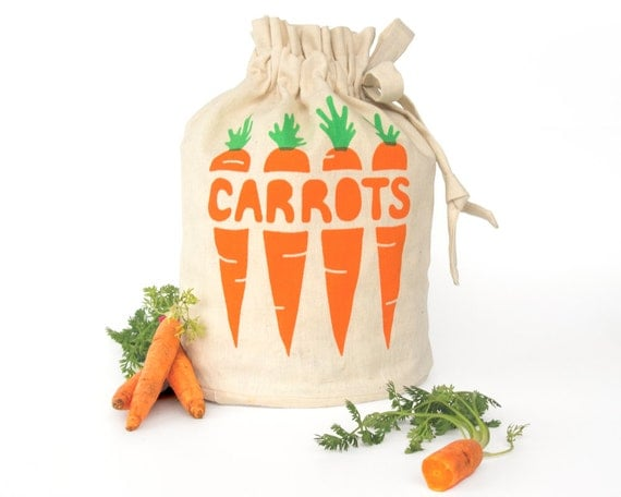 CARROTS: Eco-friendly hemp organic cotton reusable drawstring bag. Handmade kitchen housewares. Store fresh veggies. Small Size 3.