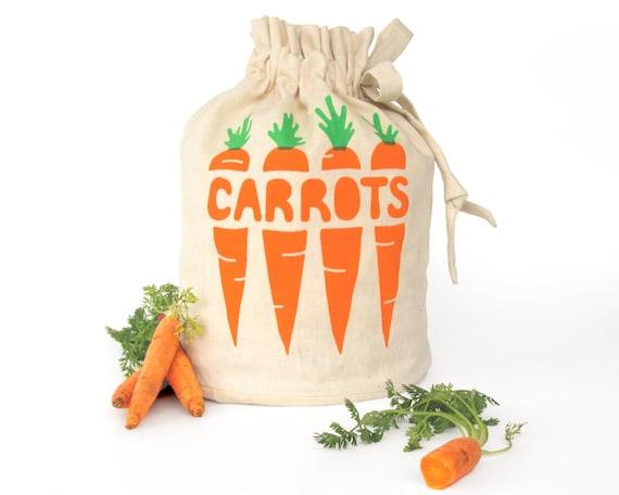 CARROTS: Eco-friendly hemp organic cotton reusable drawstring bag. Handmade kitchen housewares. Store fresh veggies. Small Size 3.