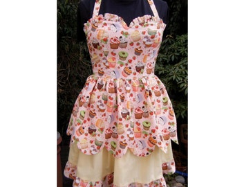 cupcake dress sweet lolita dress peachy pink  halter dress with 2 layer scalloped skirt one of a kind