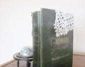Antique Poetry Book 1870 First Edition A Library of Poetry and Song Green Linen Shabby French Cottage Sonnets Love Poem Reference Owls