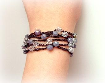 Crochet Boho Bracelet, Chic Jewelry, layered Rope, Surfer Crochet Wrap, Beach Jewelry, Hippie, Gypsy, Chic