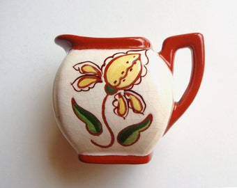 Vintage Signed Polly Wynn Creamer Brown Yellow Green Hand Painted Glazed Small Ceramic Pitcher Flower and Leaf Motif Collectible Pottery