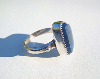 Lapis Lazuli and Sterling Silver Ring Size 7 Chilean Dark Blue w Lots of Pyrite Sprinkles Serrated Bezel 2 Raindrops New Handcrafted Jewelry