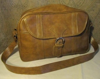 Vintage Brown Overnight Carry On Travel Bag